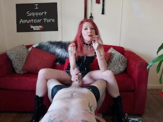 Smoking Femdom Leather MILF Plays With a Subs Cock