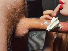 Big cock in whipped cream. Close up Blowjob with cum in mouth