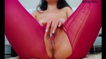 Wet Pussy sound play in Ripped Pantyhose and Satifsfyer orgasm