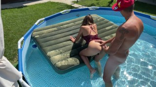 Instant Amateur hard ANAL SEX in pool because of her sexy red lingerie