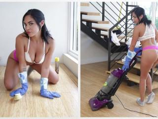 BANGBROS - Hot Latina Maid Selena Santa Polishes Bruno Dickemz's Knob extreme bisex tube