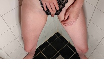 Pissing through crotchless panties