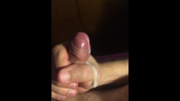 He jerks off and cums while I caress his nipples. His belly is full of cum