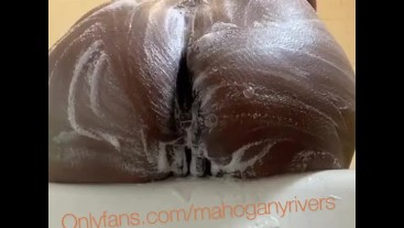 Cleaning my soapy body and ass and spreading it wide open. - I spanked my ass too lol