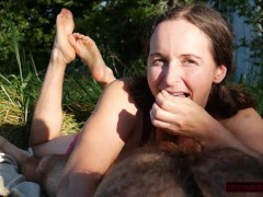 Outdoors and Feet Up: MILF Sucks Cock and Gets Facial After Face Is Fucked