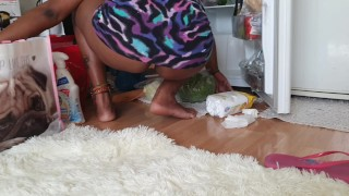 Ebony-Latina-Beauty-Cleaning-in-Upskirt-Wet-Stained-Panties-Visible—Beautiful-Round-Ass-POV