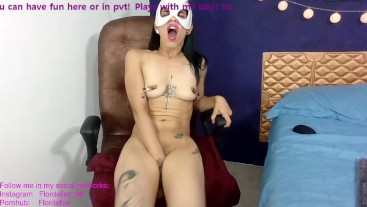 Tattooed skinny girl plays with her dildo