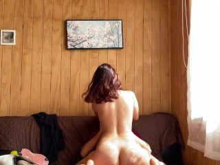 Gorgeous Round Ass Redhead Latina Teen Cowgirl Happy Ending Creampie