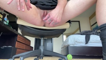 FTM pussy eats clear 8 inch jelly dildo