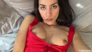 Masturbation and Orgasm in my Mini Red Dress – Brunette Amateur