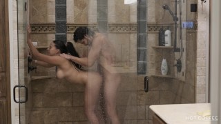 Shower with my fit husband ends up in hot and romantic sex