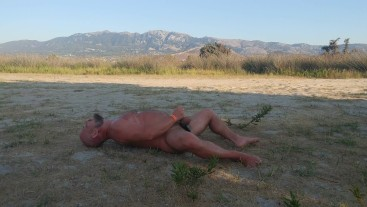 Massive 1 week cum load Hairy Bear public Jerking off on the nudist beach with balls shlaping sound