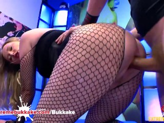 Big Booty Bitch Rides Cock Cowgirl in Body Stocking – Extreme Bukkake