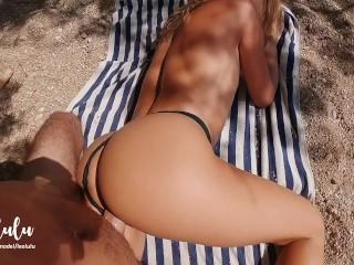 We bring you to the public beach ;) Casual sex, intense goosebumps orgasm - Amateur Couple LeoLulu