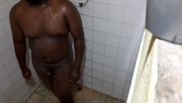 Chubby black boy shakes big ass and showers