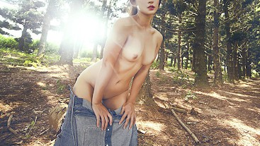 Stripped and Naked walk in a forest public. Serena Unger