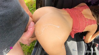Rain Caught Couple People Fucking in a Car Outdoor – Double Cumshot on Gorgeous Ass