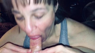 Granny sucks our friends cock and I love watching her do so