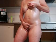 Lactating Milf Milky Boobs Masturbation In The Kitchen
