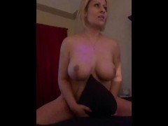 Horney MILF humping pillow until she gets a hard thick cock!