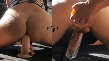 Sharing Monster Dildo And Stretching Her Tight Ass (Dripping Cum Anal)
