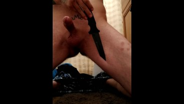 Knife play with orgasm! Cumming on blade.