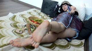 Oriental princess and her servant big feet foot worship foot slave foot dominationfoot goddess