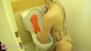 Iron Maiden Corset toilet cleaning