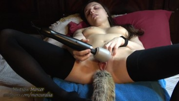 HUGE CLIT Fox Tail Butt Plug Hitachi ORGASM
