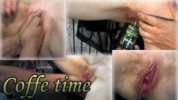 My wife drinks coffee, fucks herself with a can, and squirts from fisting