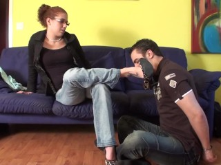 he have to sniff and lick her shoes and feet