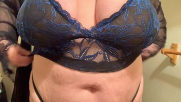 BBW black and blue lingerie tryon tease