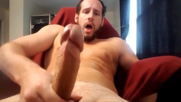Chaturbate model's huge cock edged at full erection with vibrating asshole.