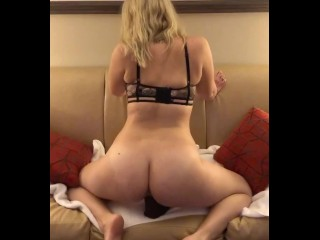 Sensually teasing while riding my bbc dildo on couch. Getting ready to get fucked hard