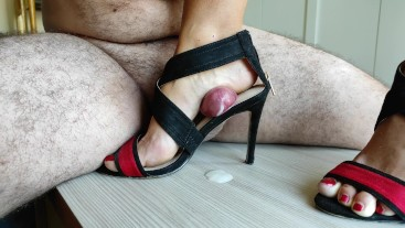 Shoejob, Shoe Fuck and Cock Trampling with high heels sandals until I cum