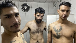Latino Hottie Gael Fucked By Two Hunks Porno Fucking Shower