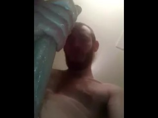 Massive cock lotioned up in the bathroom!!