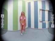 VR 3D 4K - BIG FAKE BOOBS BIMBO BLONDE GIRL IN MICRO BIKINI TEASING HOT BODY - OCULUS QUEST 2