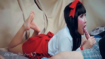 Japanese Temple Miko-san Bare Feet Feet View POV Blowjob and Cumshot