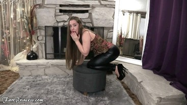 Gassy Girlfriend's Farting JOI in Shiny Black Leggings - Fart Princess Kristi Farting Girlfriend POV