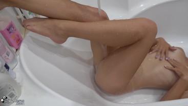 Intense Orgasm from Bathtub Handjob