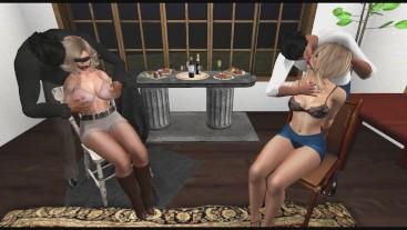 Two Pantyhose Bondage Chicks get Fucked