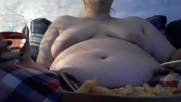 Suffing myself on fries, nuggets and wine + belly play