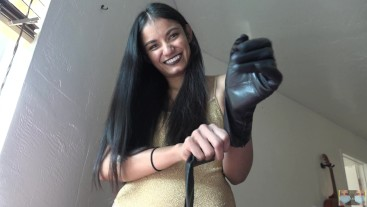 Trying On Leather Gloves