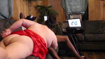 behind white girl sucking bbc sloppy lynn