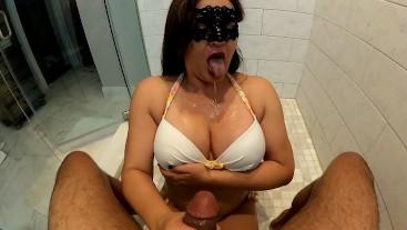 4K Fantasy Blowjob!  Perfect Tit Milf Sucks Throbbing Cock and Licks Up The Cum