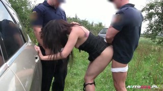 Clip Hot brunette double drilled by city guards