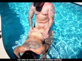 Real couple passionate outdoor WAP sex in the pool POV