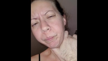 Amateur slut being choked and slapped while cumming