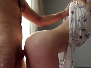Passionate sex on balcony with petite redhead babe ends with huge cumshot - Ruda Cat